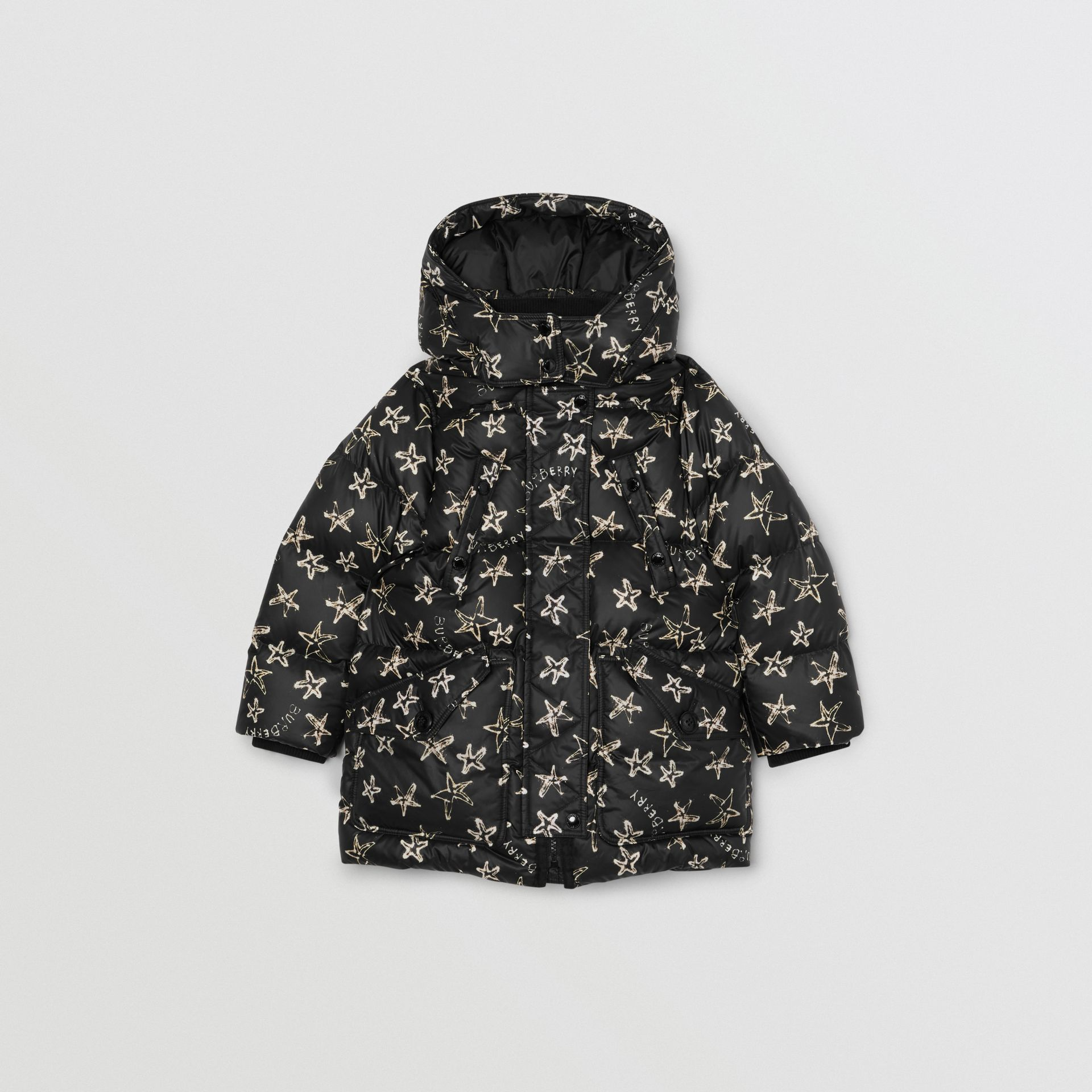 Sparkler Print Hooded Puffer Coat in Black | Burberry Singapore - gallery image 0