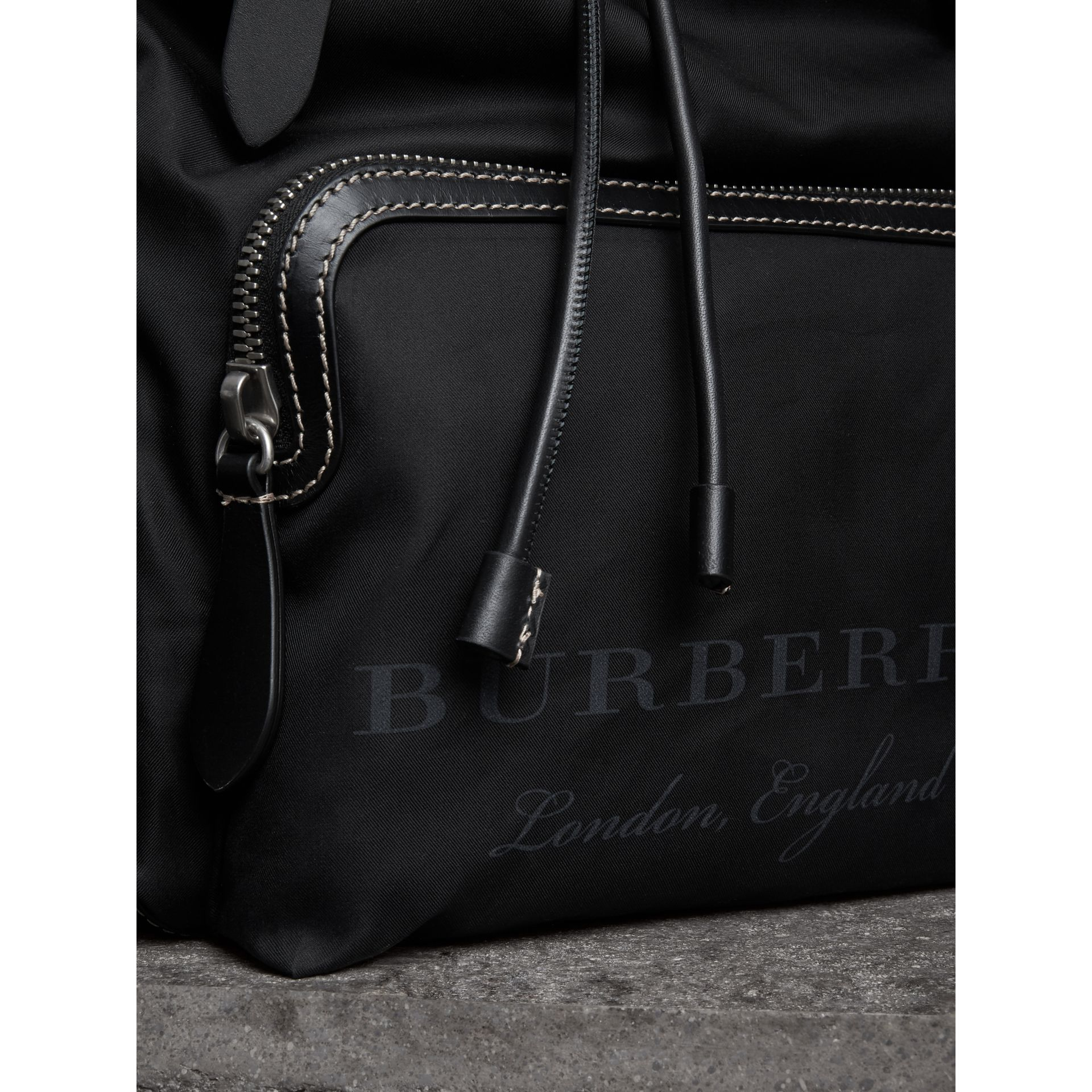 The Large Rucksack in Cotton Canvas in Black - Men | Burberry - gallery image 1