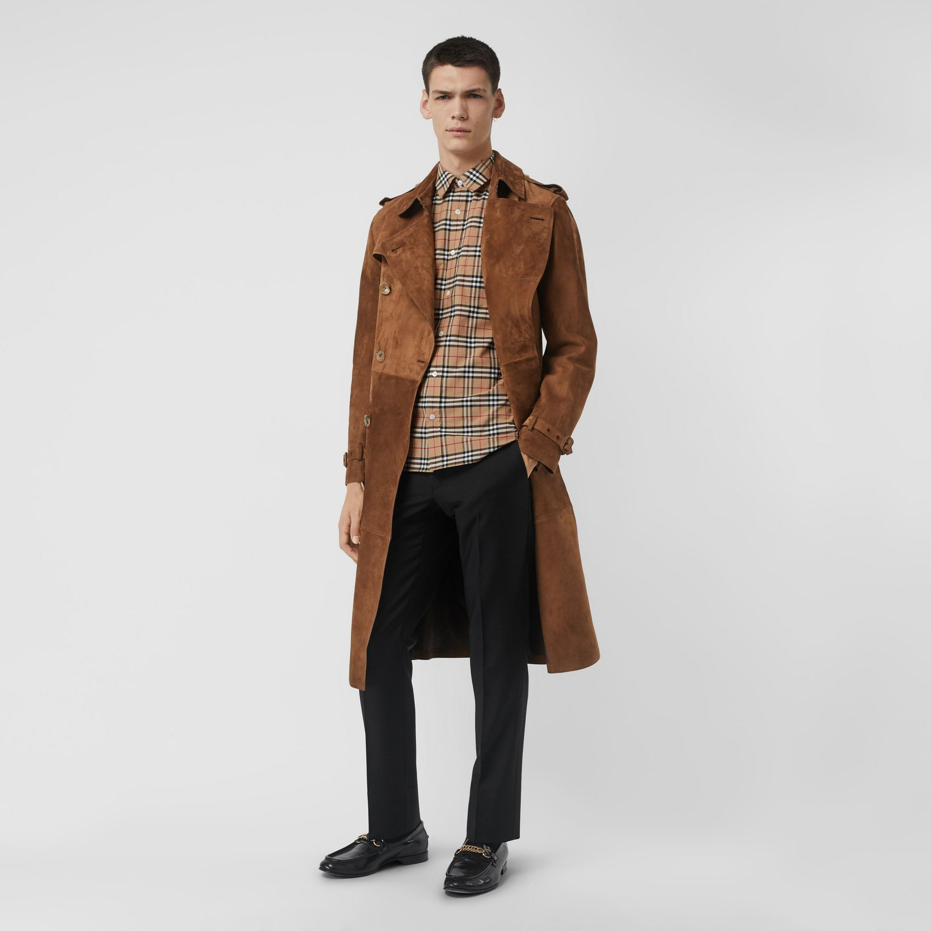 Check Stretch Cotton Shirt in Camel - Men | Burberry United Kingdom - gallery image 4