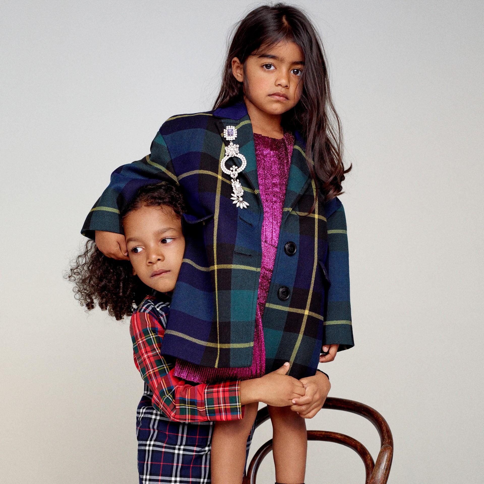 Tartan Wool Coat in Pine Green - Girl | Burberry United States - gallery image 5