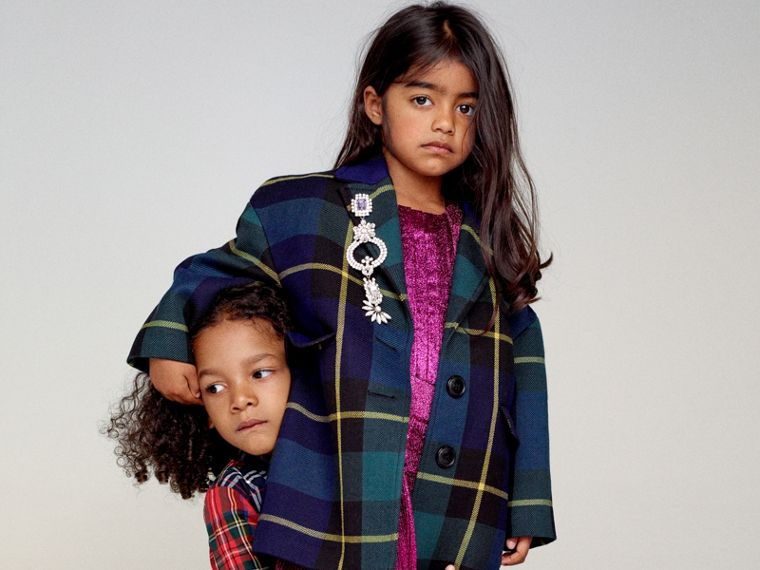 Tartan Wool Coat in Pine Green - Girl | Burberry Singapore - cell image 4