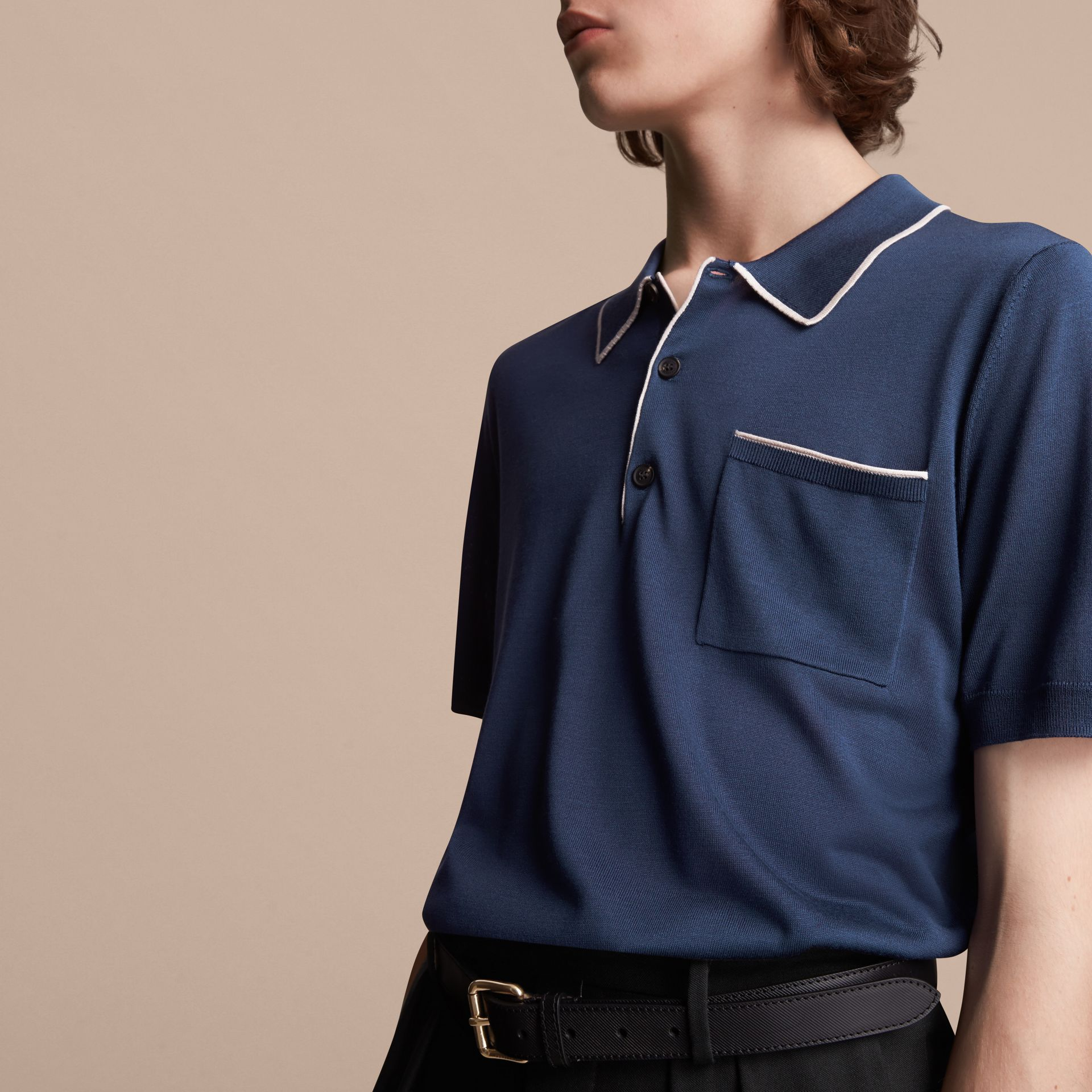 Tipped Detail Knitted Silk Polo Shirt - gallery image 5