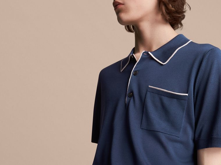 Tipped Detail Knitted Silk Polo Shirt - cell image 4