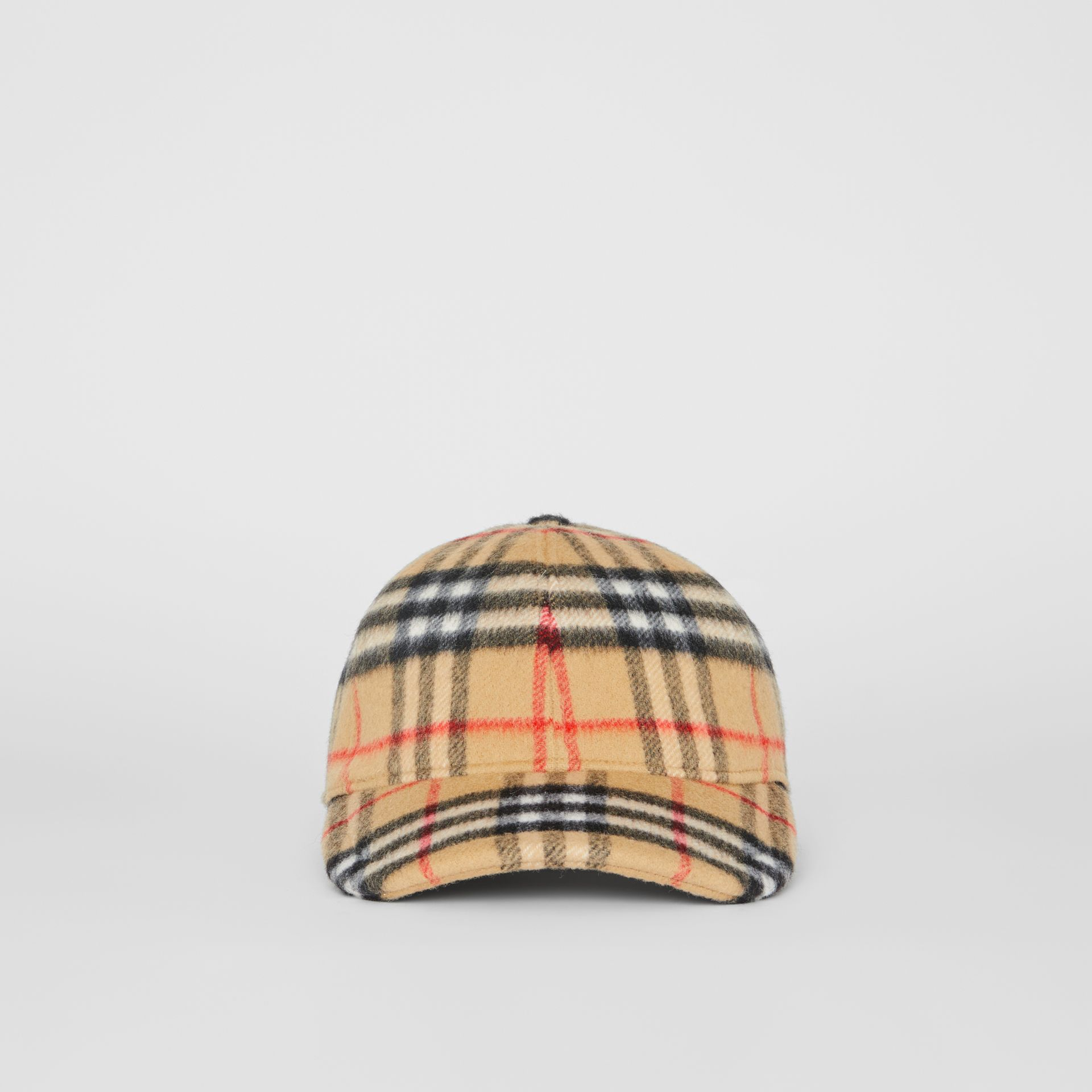 Vintage Check Wool Baseball Cap in Antique Yellow | Burberry United Kingdom - gallery image 6
