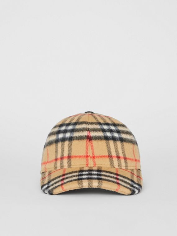 3055091ada3 Vintage Check Wool Baseball Cap in Antique Yellow