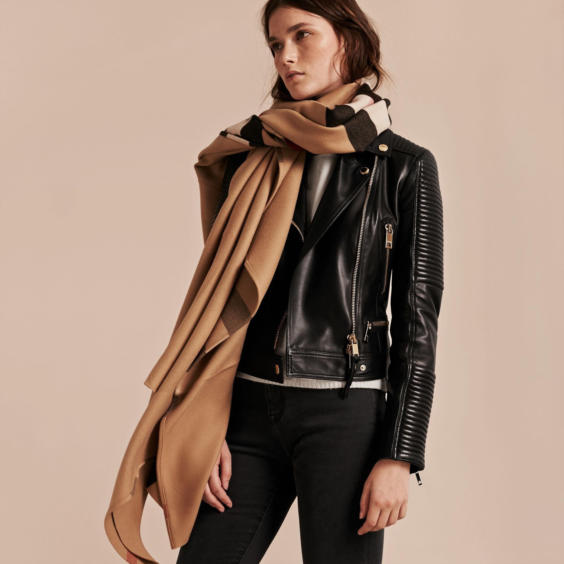 Check Wool Poncho in Camel - Women | Burberry - gallery image 3