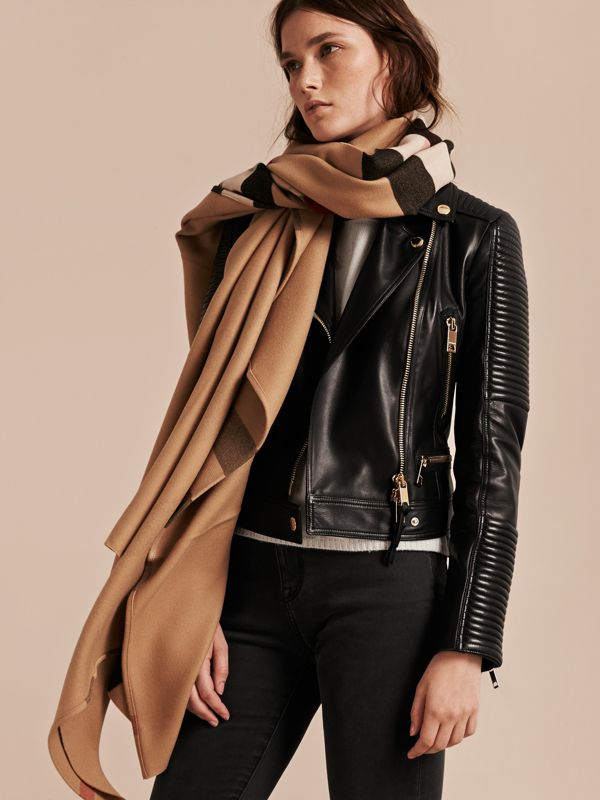Check Wool Poncho in Camel - Women | Burberry - cell image 3