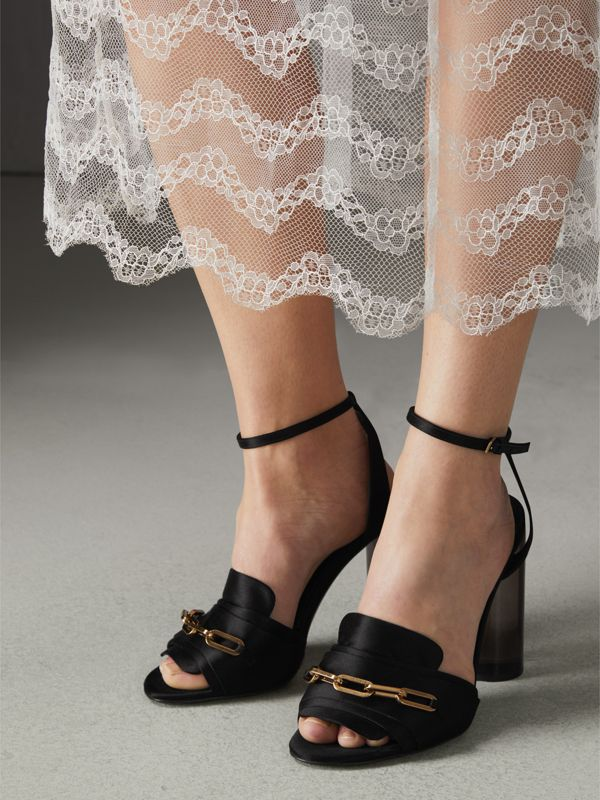 Link Detail Perspex Heel Satin Sandals in Black - Women | Burberry United Kingdom - cell image 2