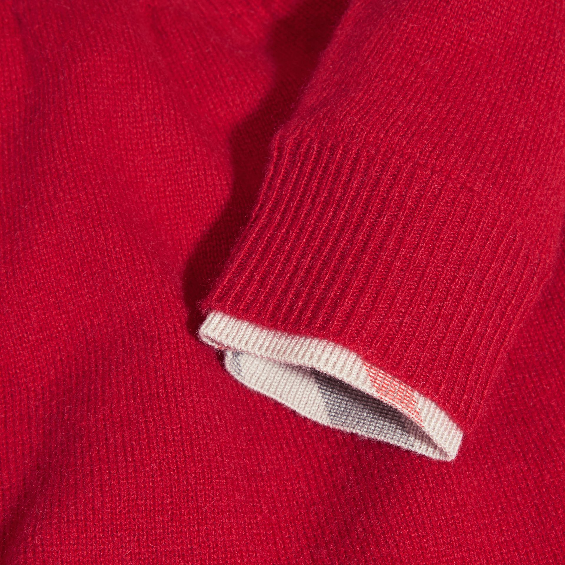 Parade red Check Cuff Knitted Cashmere Dress Parade Red - gallery image 2