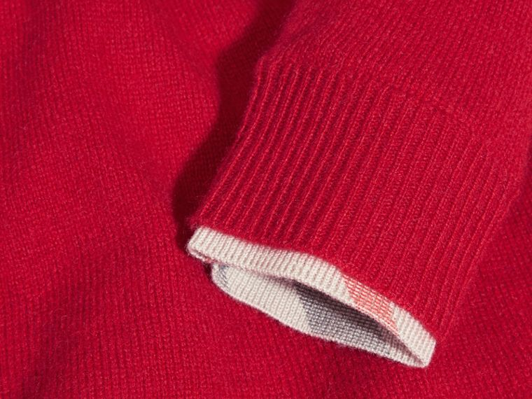 Parade red Check Cuff Knitted Cashmere Dress Parade Red - cell image 1
