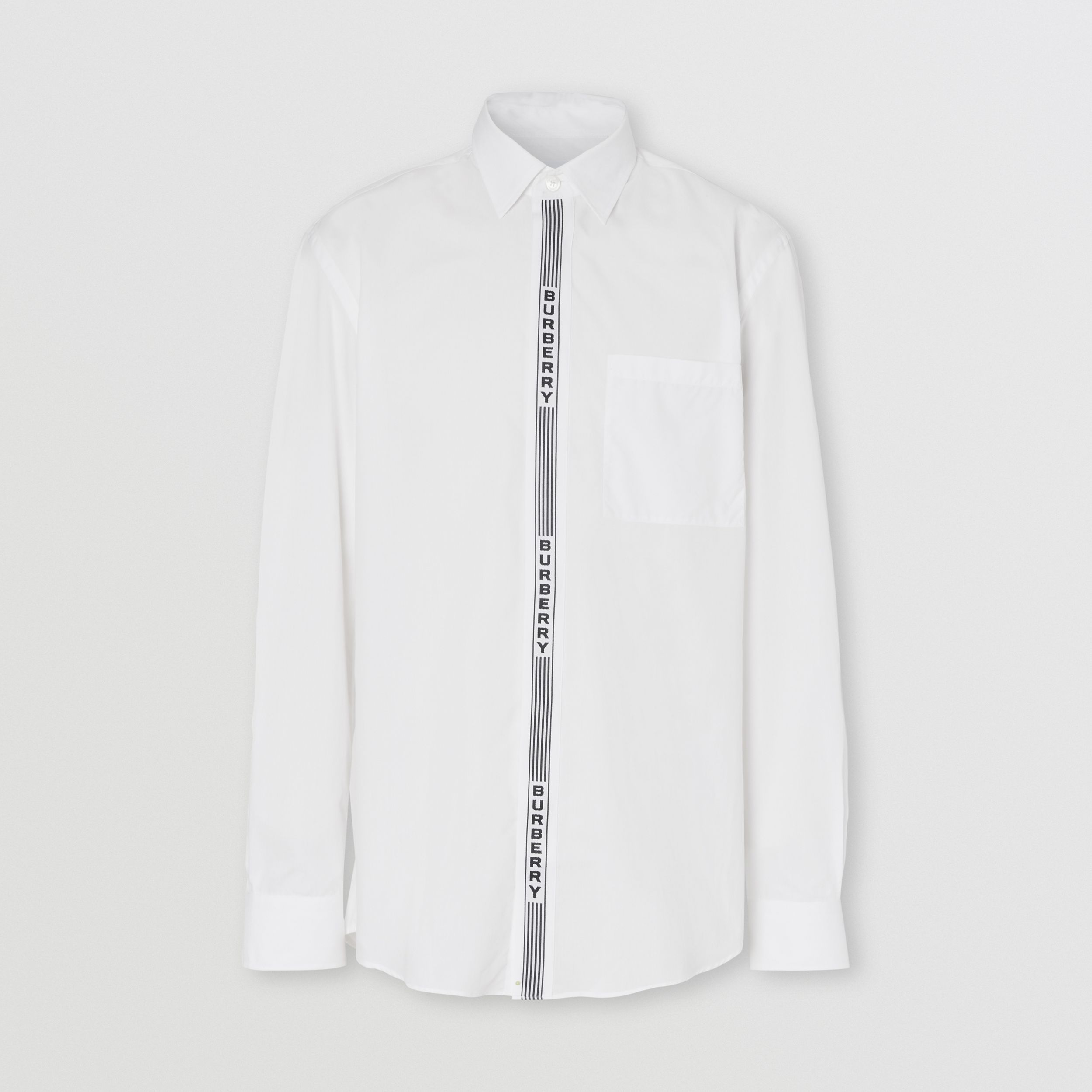 Logo Tape Cotton Shirt in White/black - Men | Burberry - 4