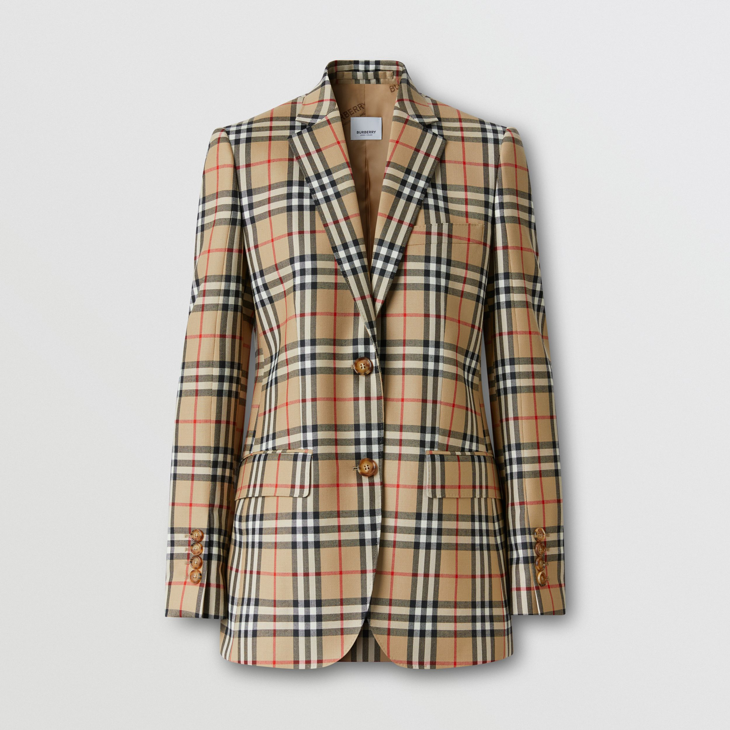 Vintage Check Wool Tailored Jacket in Archive Beige - Women | Burberry - 3