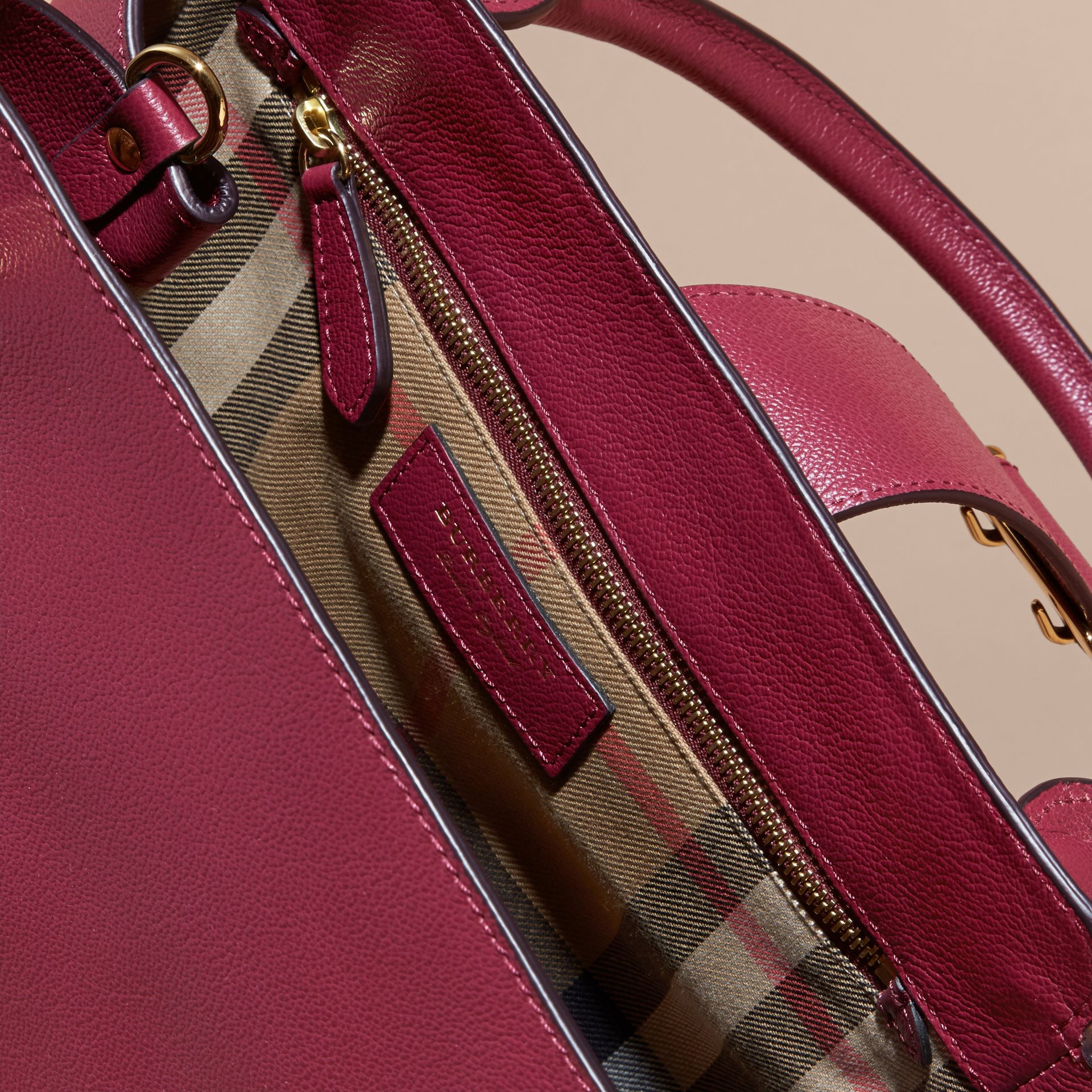 The Medium Buckle Tote in Grainy Leather Dark Plum - gallery image 6