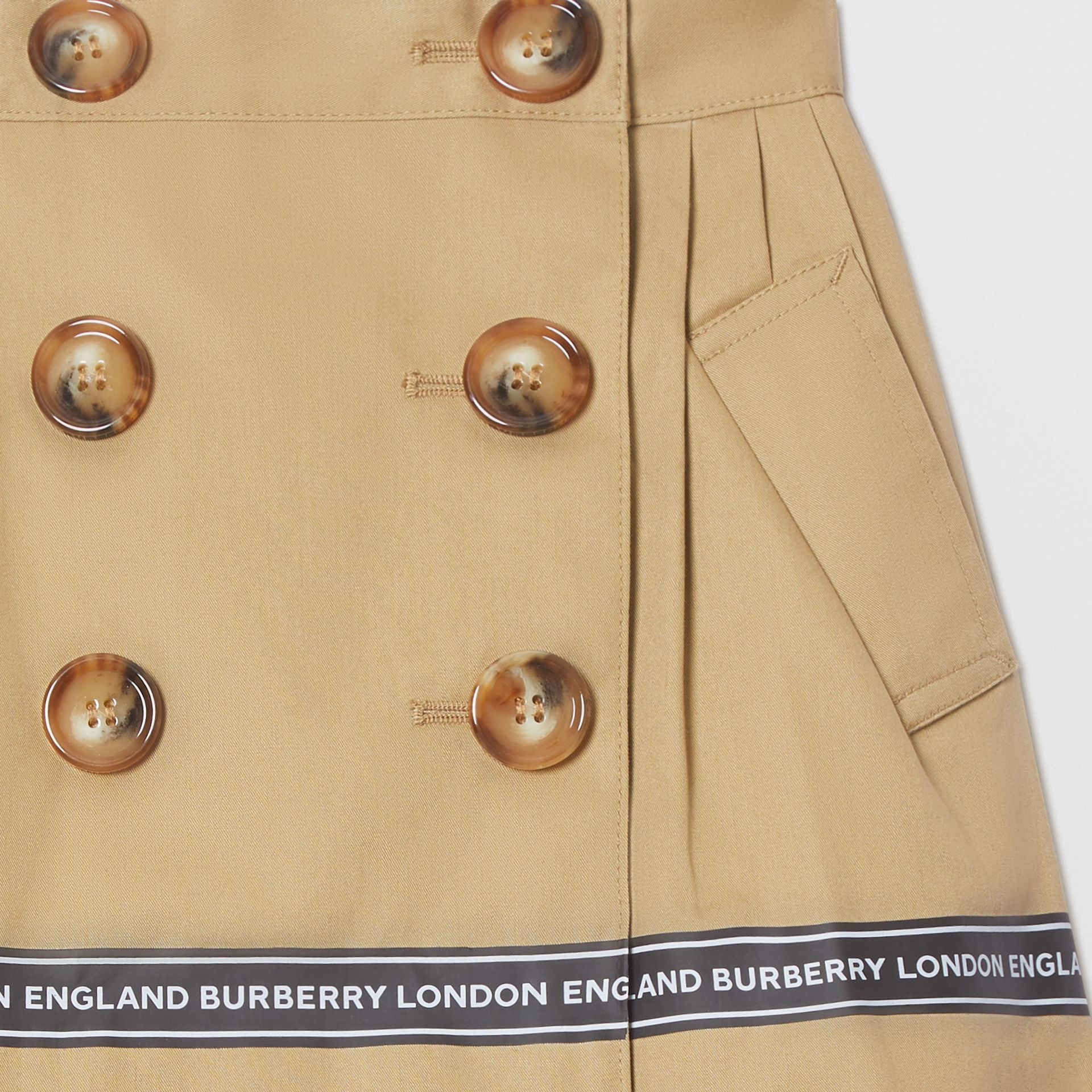 Logo Tape Cotton Twill Skirt in Honey - Children | Burberry United Kingdom - gallery image 4