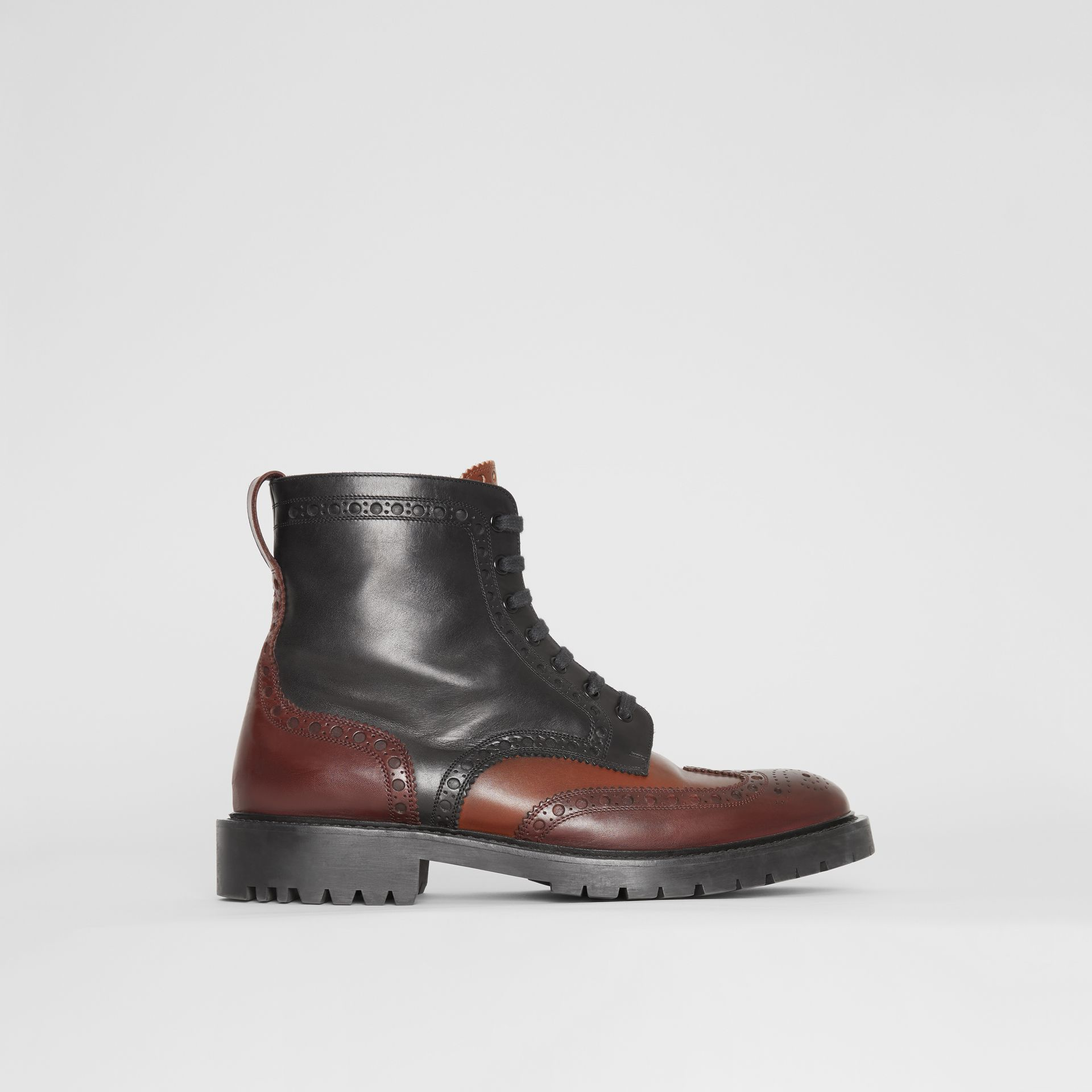 Brogue Detail Leather Boots in Black/garnet - Men | Burberry - gallery image 5