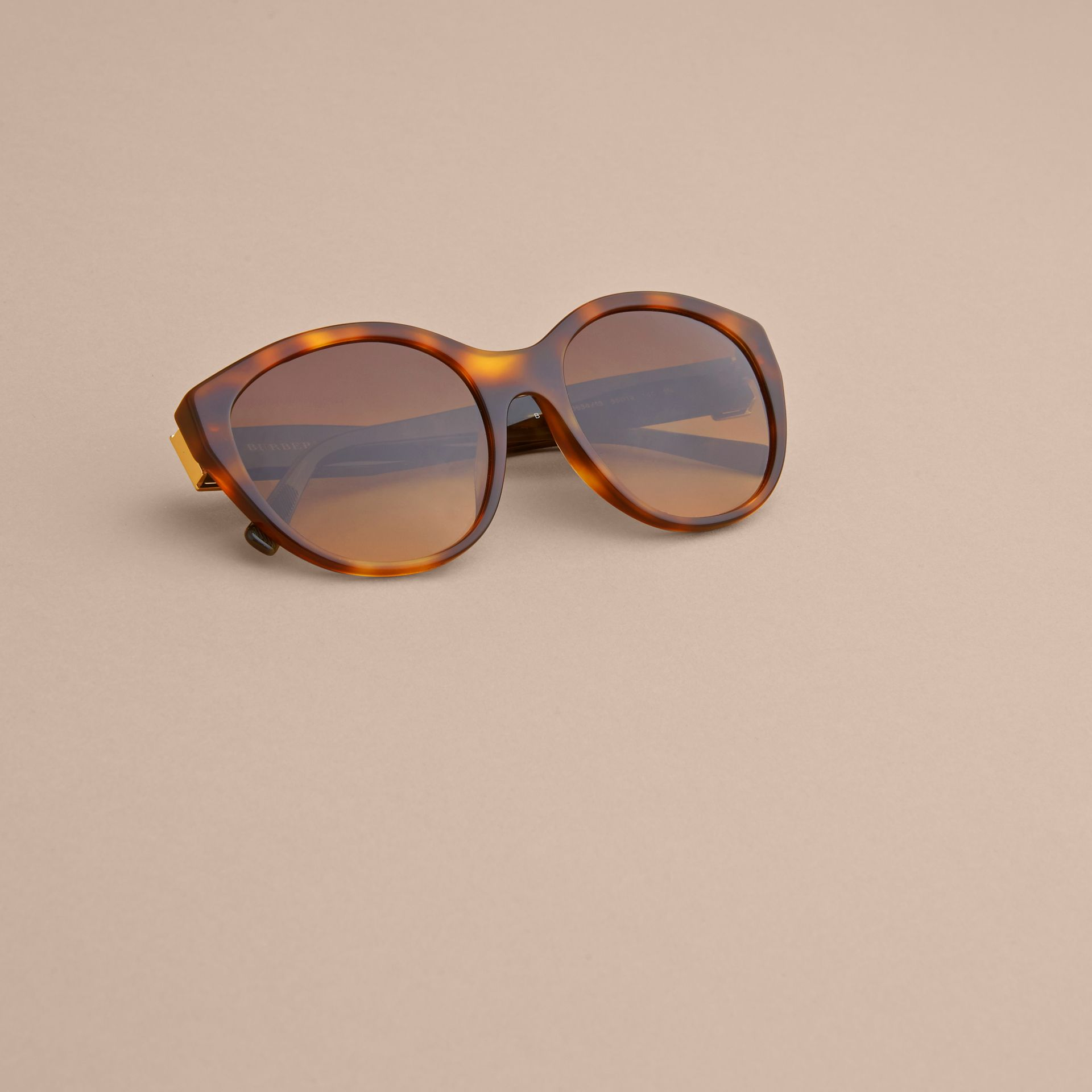 Buckle Detail Round Frame Sunglasses in Tortoise Green - Women | Burberry - gallery image 5