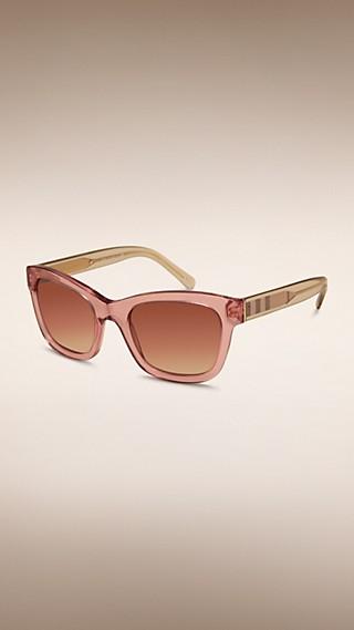 Солнцезащитные очки «кошачий глаз» с отделкой в клетку