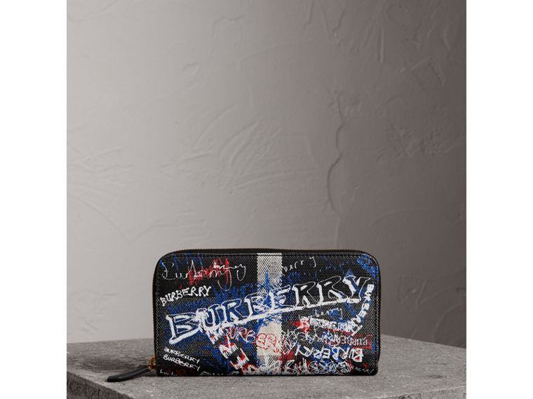 Doodle Print Coated Canvas Ziparound Wallet in Black | Burberry - cell image 4