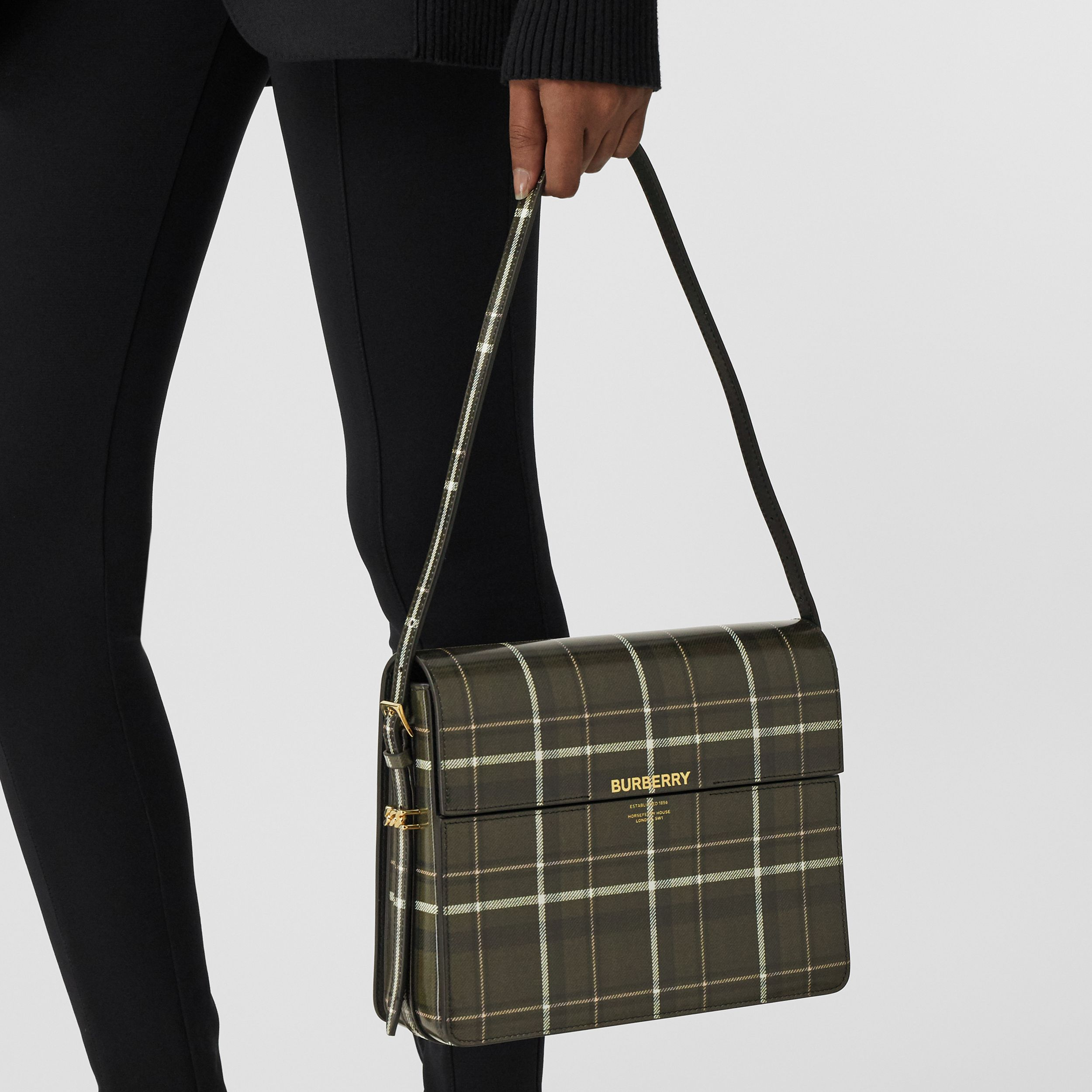 Large Tartan Print Leather Grace Bag in Green/brown - Women | Burberry United States - 3