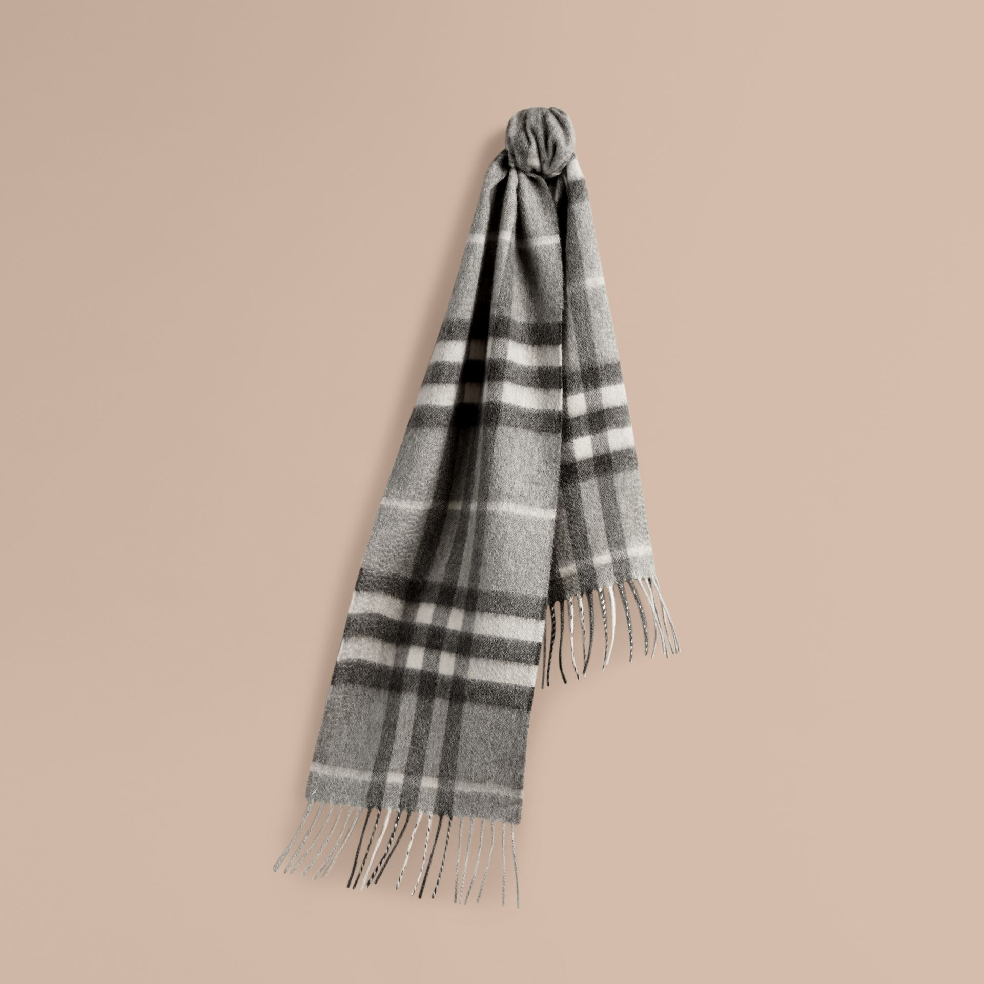 Pale grey The Mini Classic Cashmere Scarf in Check Pale Grey - gallery image 5