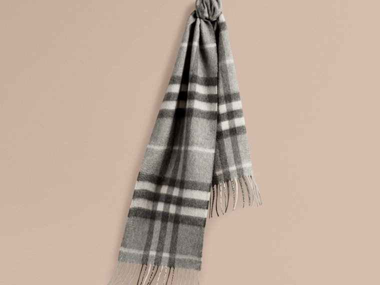 Pale grey The Mini Classic Cashmere Scarf in Check Pale Grey - cell image 4