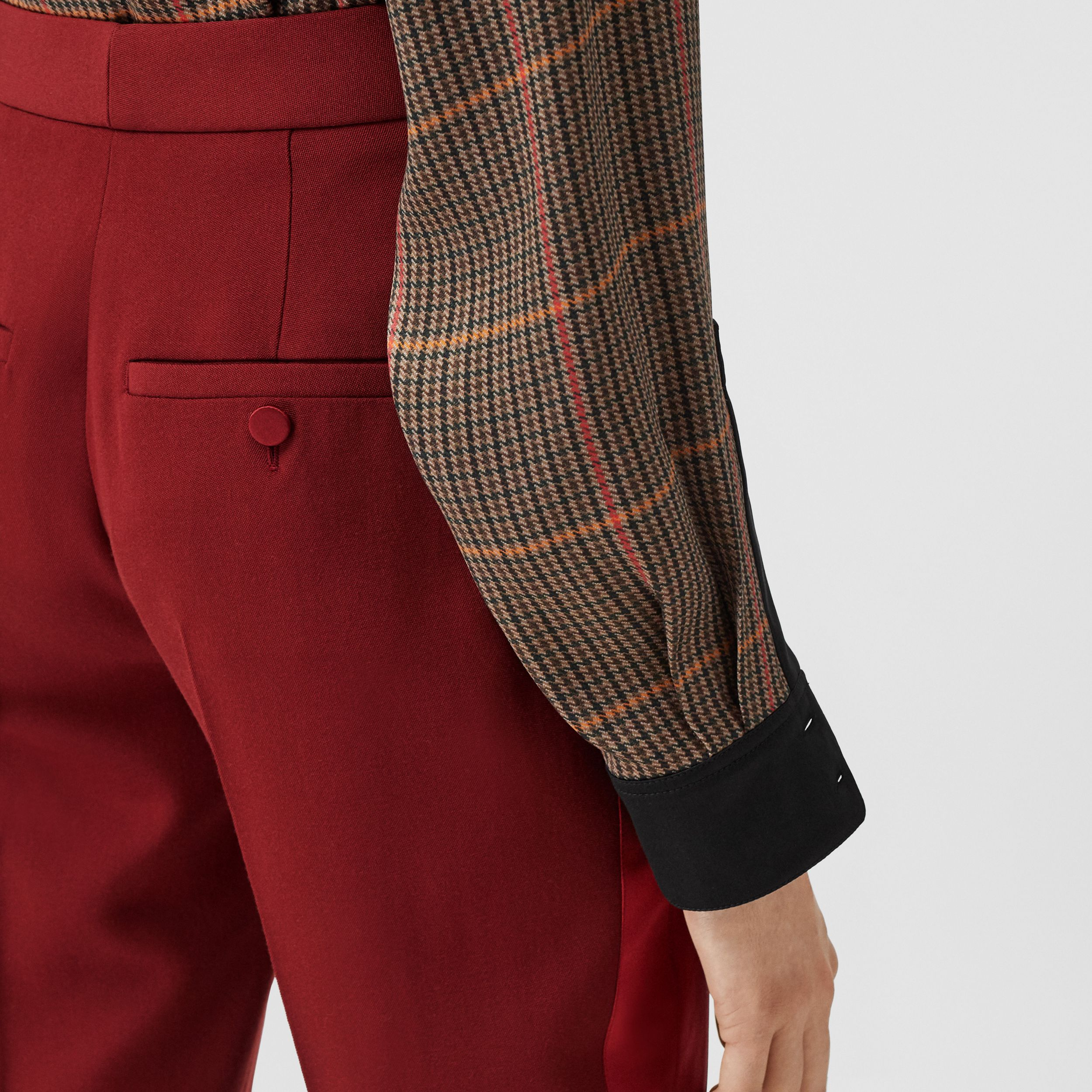 Silk Satin Side Stripe Wool Tailored Trousers in Dark Carmine - Women | Burberry Australia - 2