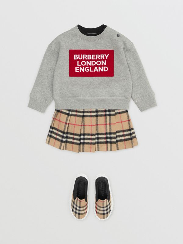Logo Detail Jersey Sweatshirt in Grey Melange - Children | Burberry - cell image 2
