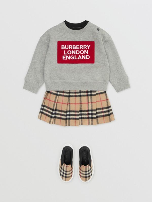 Logo Detail Jersey Sweatshirt in Grey Melange - Children | Burberry United Kingdom - cell image 2