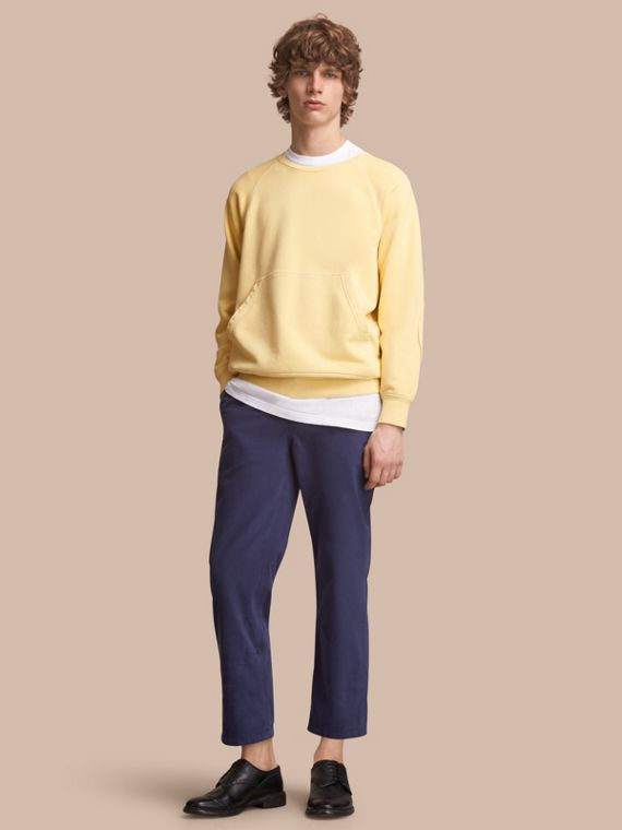 Unisex Pigment-dyed Cotton Oversize Sweatshirt in Pale Yellow