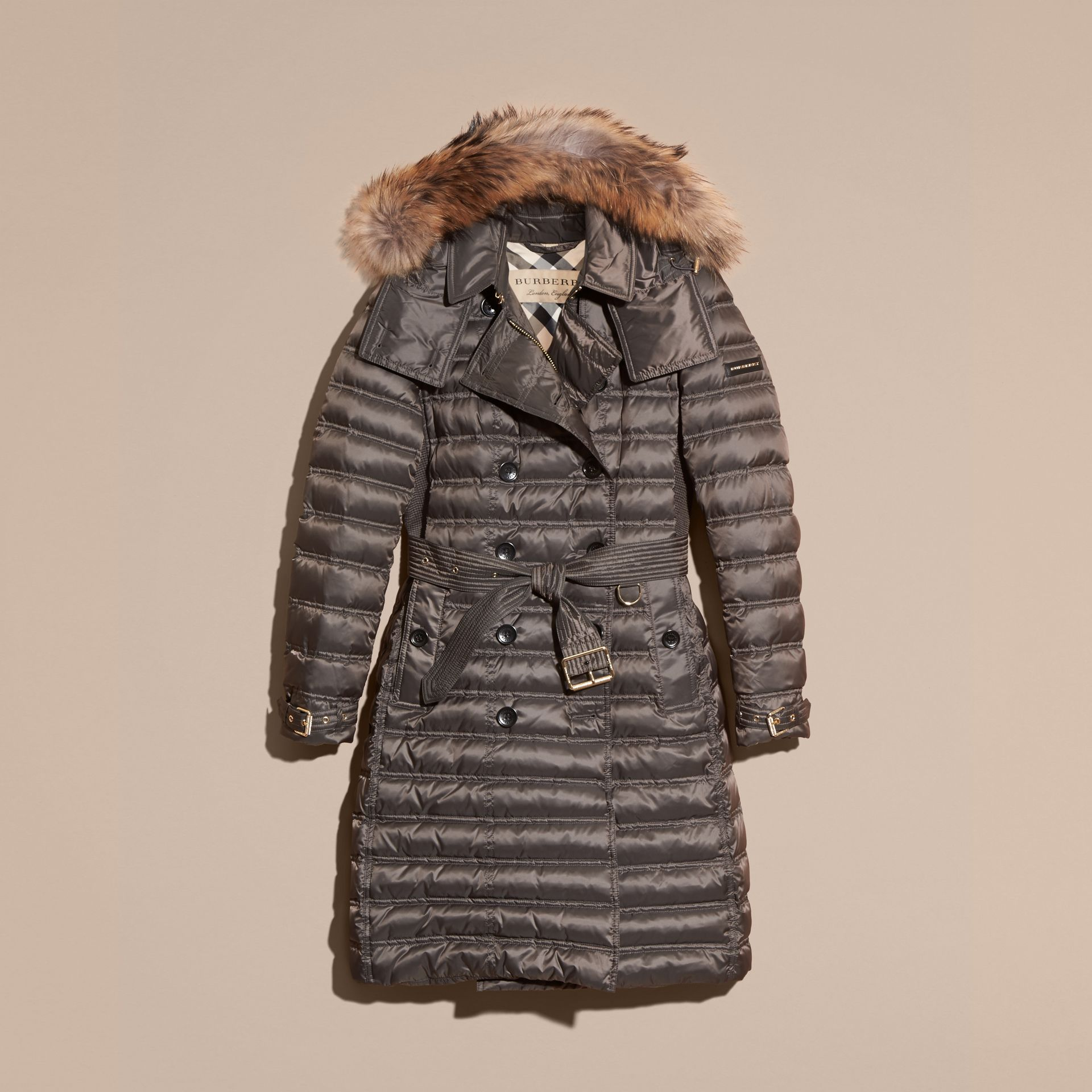 Mid grey Down-Filled Puffer Coat with Fur Trim Mid Grey - gallery image 4
