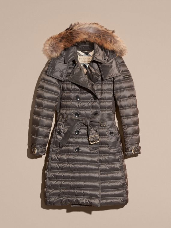 Mid grey Down-Filled Puffer Coat with Fur Trim Mid Grey - cell image 3