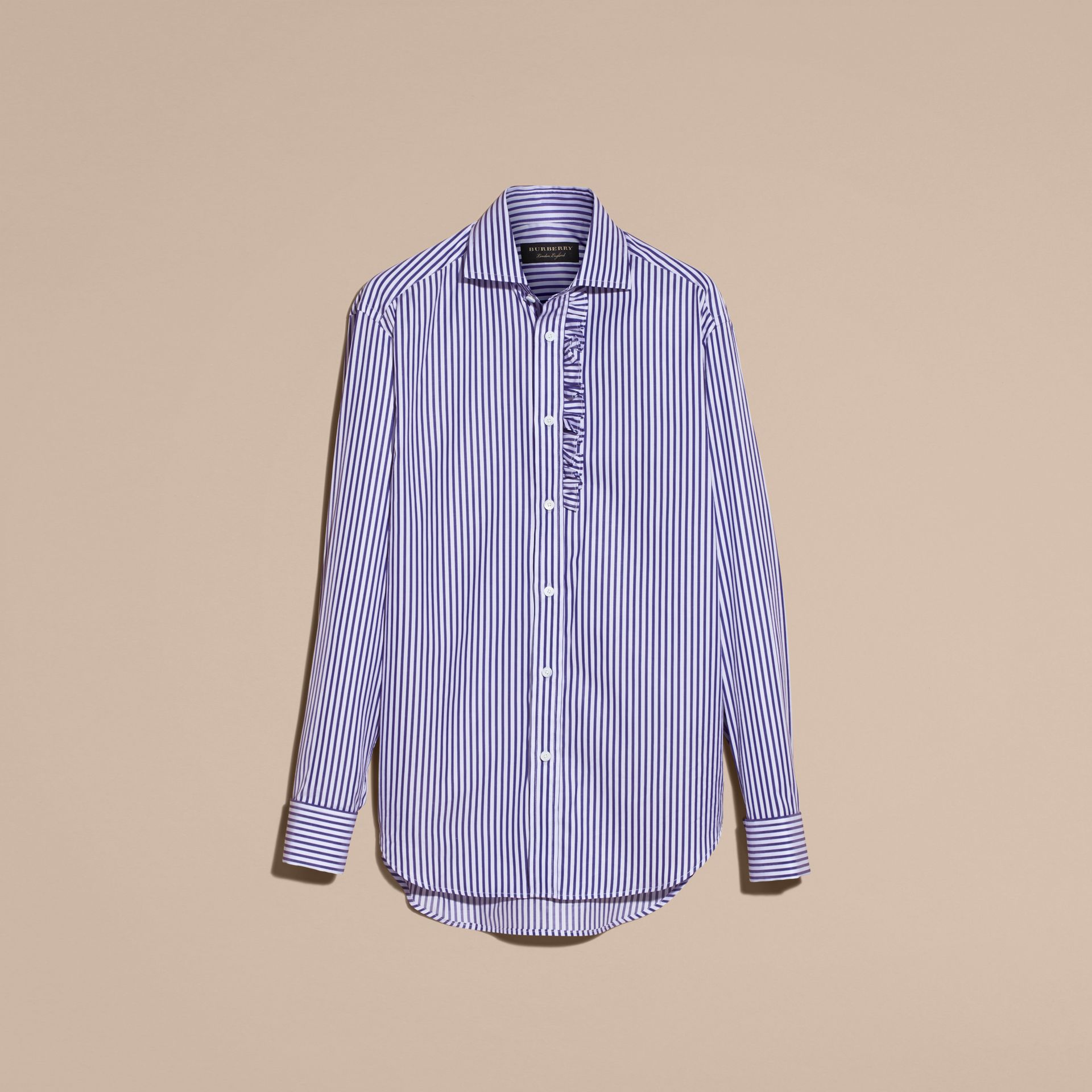 Canvas blue Ruffle Detail Striped Cotton Shirt - gallery image 4
