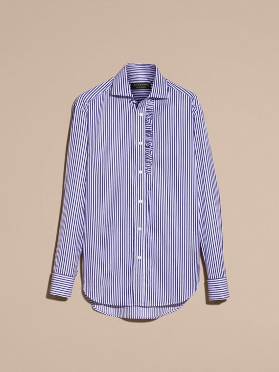 Canvas blue Ruffle Detail Striped Cotton Shirt - cell image 3