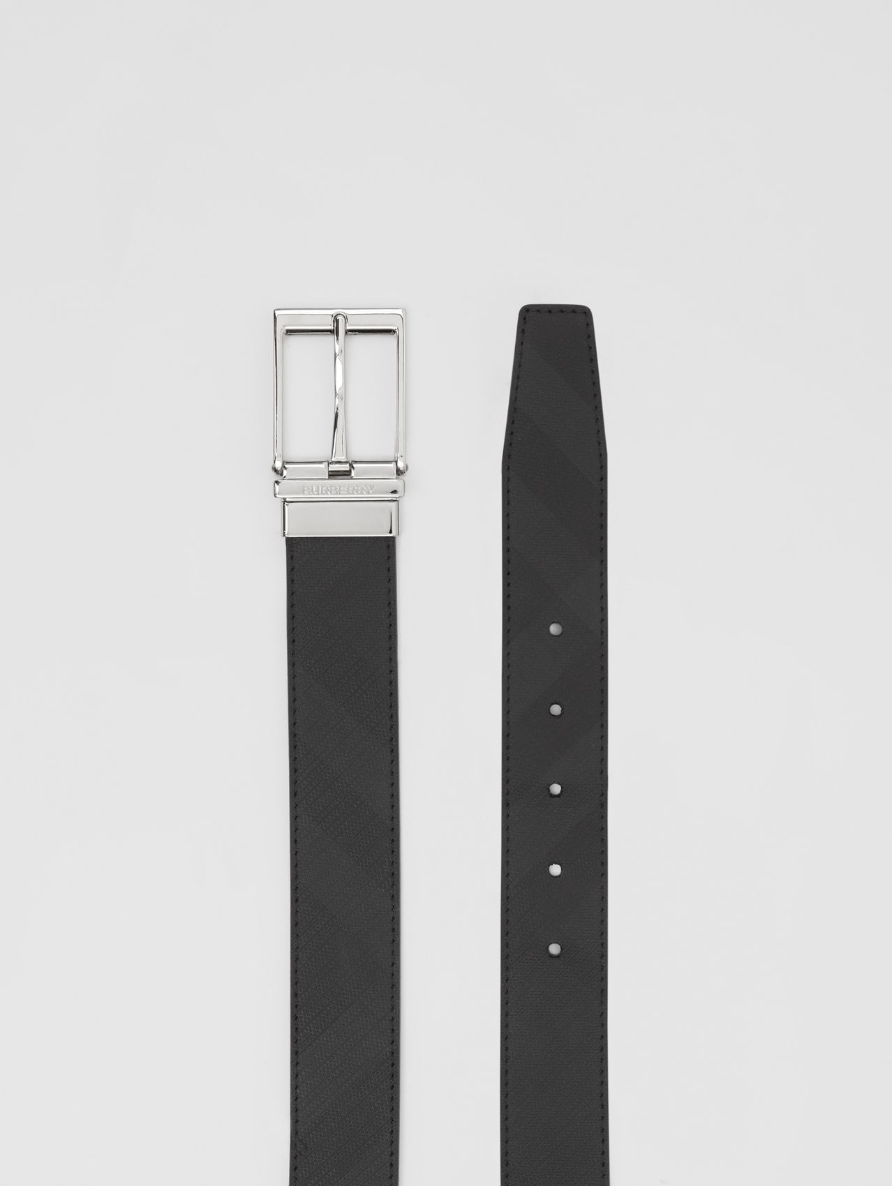 Reversible London Check and Leather Belt (Dark Charcoal/black)