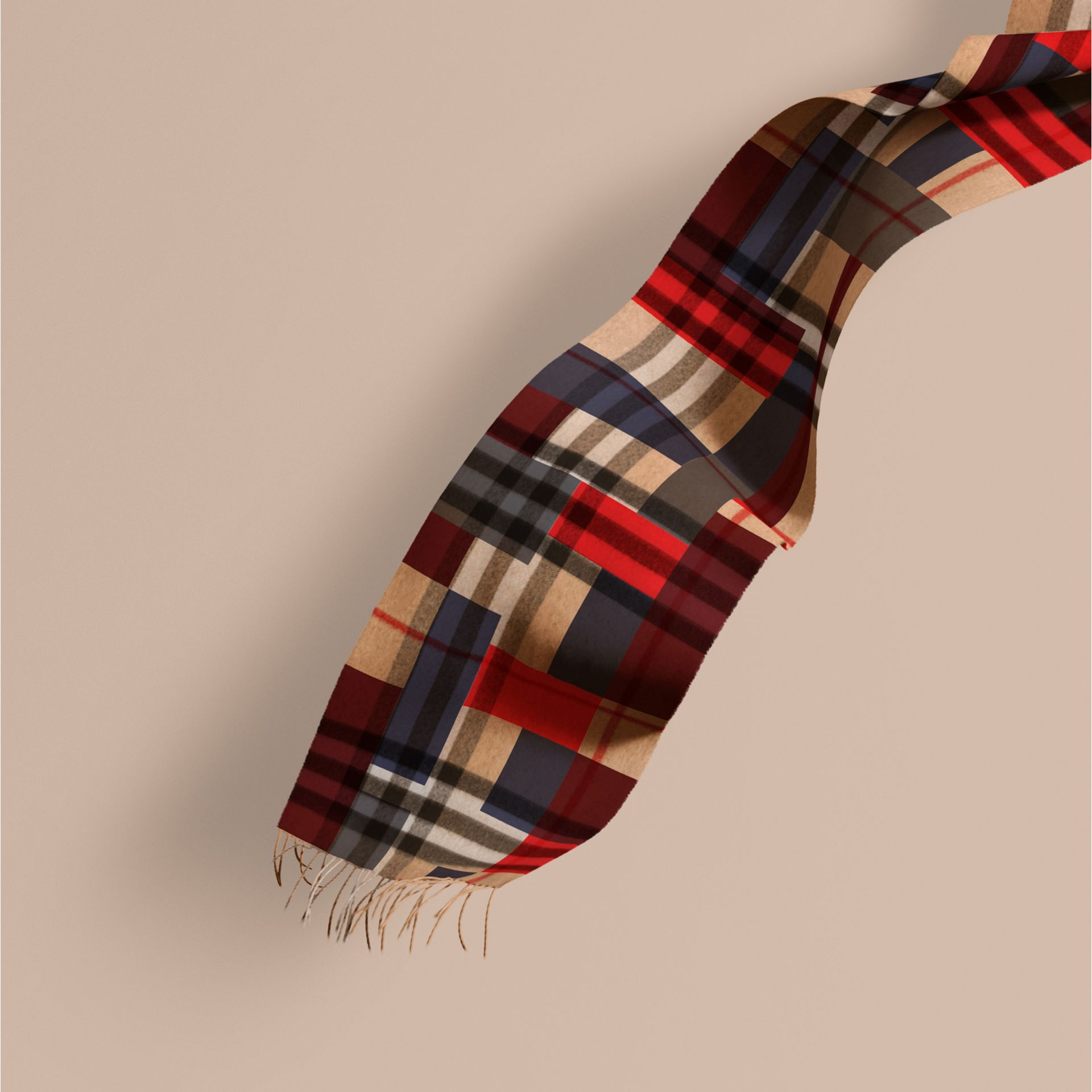 Parade red The Classic Cashmere Scarf in Colour Block Check - gallery image 1