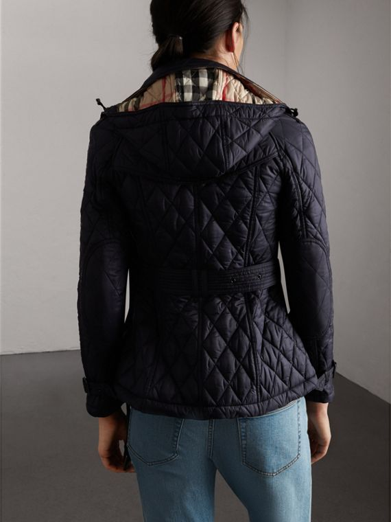Quilted Trench Jacket with Detachable Hood in Ink - Women | Burberry - cell image 2