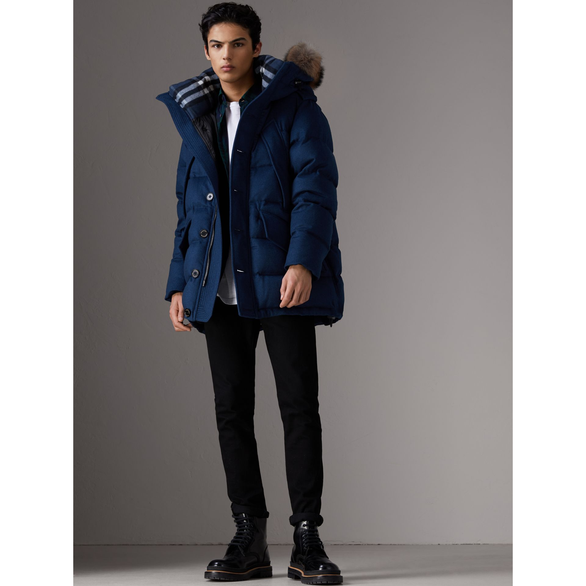 Detachable Fur Trim Cashmere Down-filled Parka in Teal Blue Melange - Men | Burberry - gallery image 6