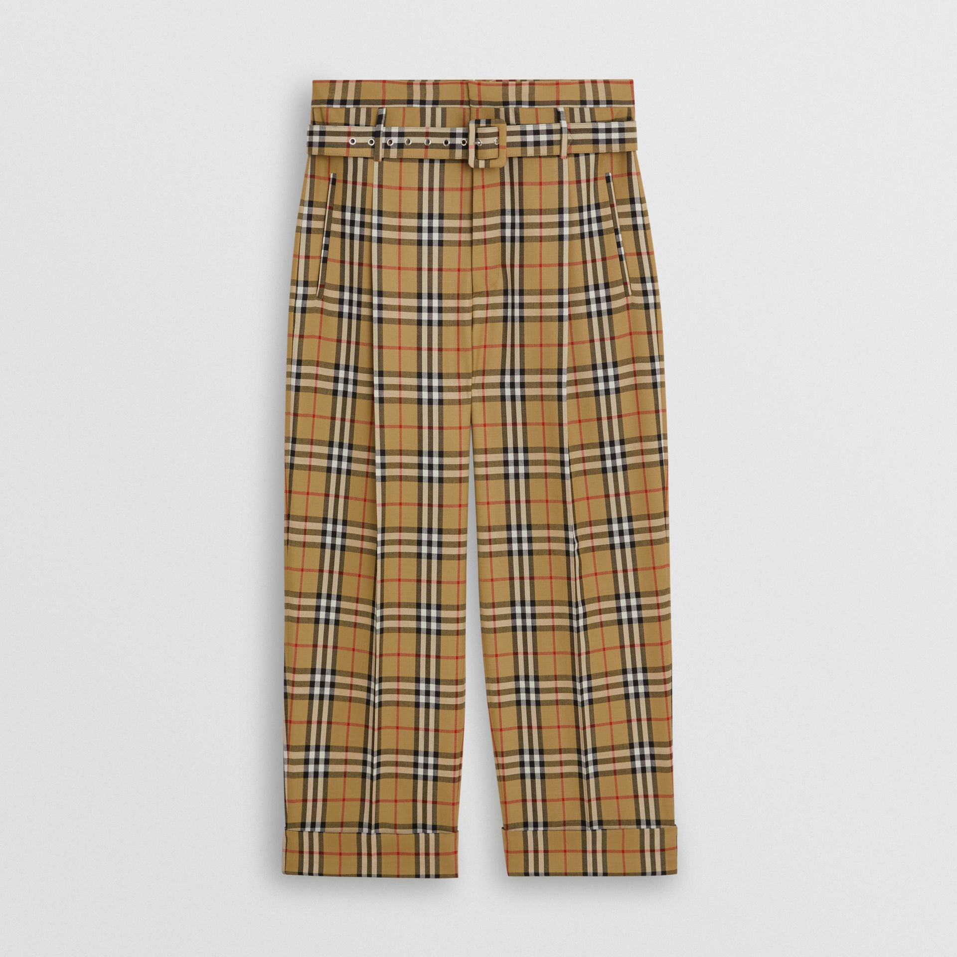Vintage Check Wool High-waisted Trousers in Antique Yellow | Burberry - gallery image 3