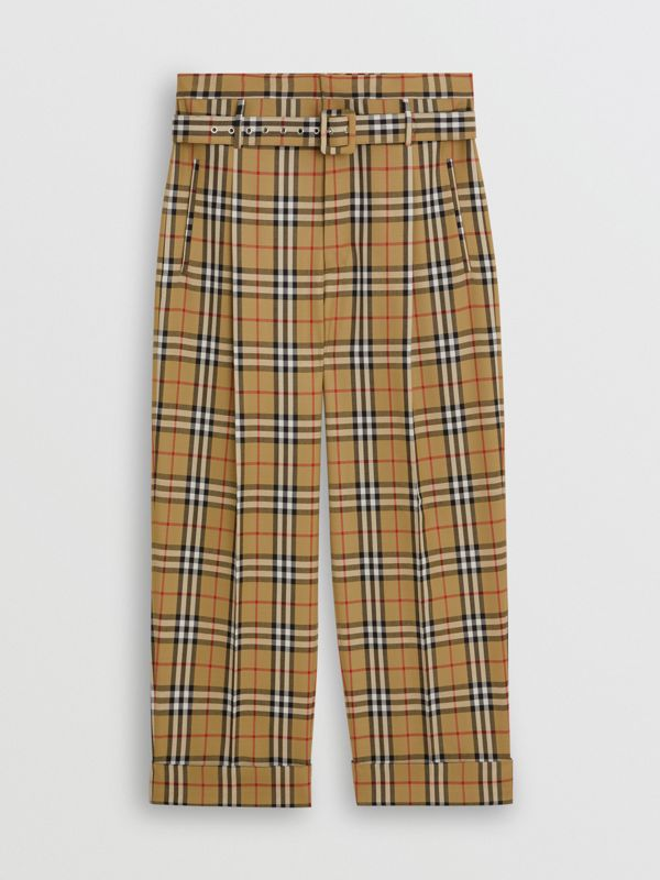 Vintage Check Wool High-waisted Trousers in Antique Yellow | Burberry - cell image 3
