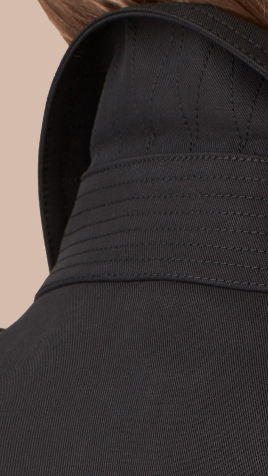 Black Cotton Gabardine Trench Coat Black - Image 2