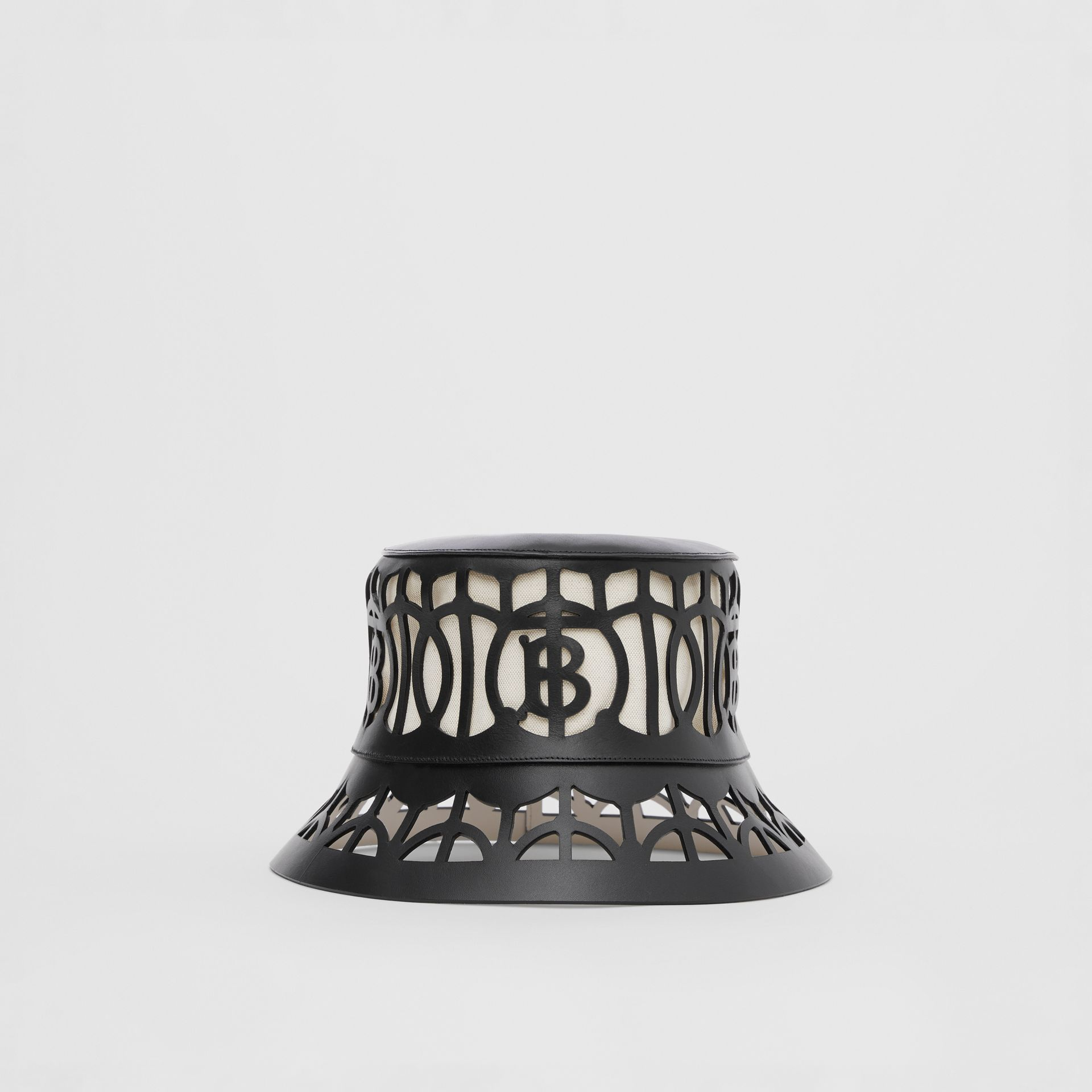 Monogram Motif Cut-out Leather Bucket Hat in Black   Burberry United Kingdom - gallery image 0
