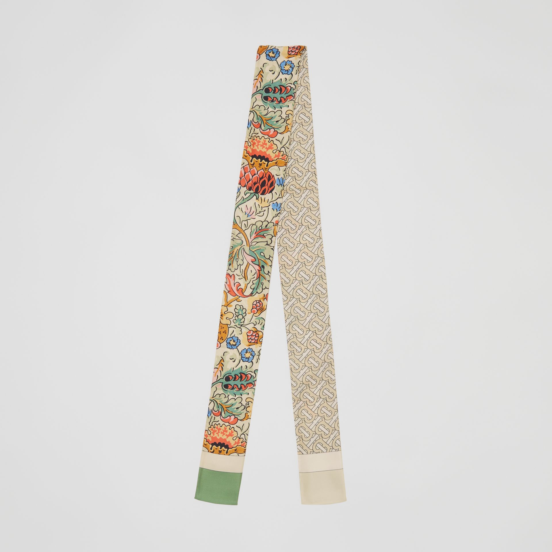 Floral and Monogram Print Silk Skinny Scarf in Sage Green | Burberry Hong Kong S.A.R - gallery image 0