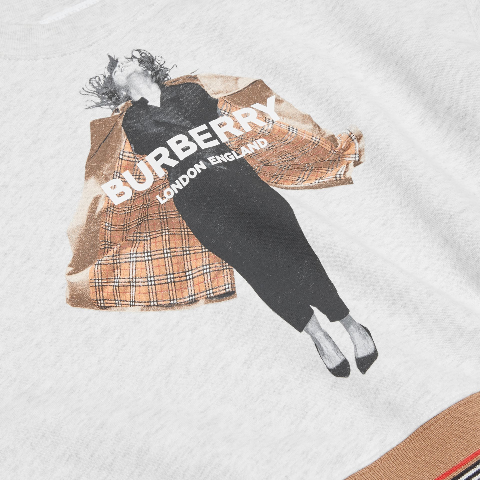 Jump Print Cotton Sweatshirt in White Melange | Burberry - gallery image 1