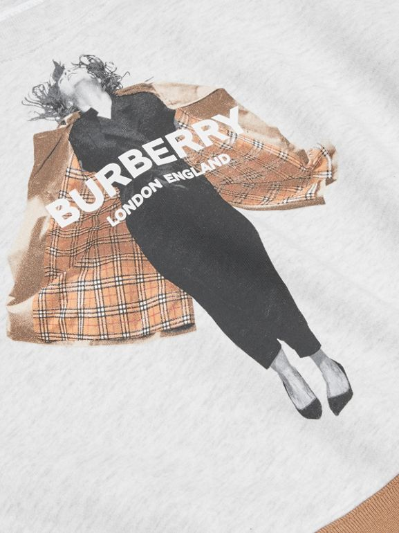 Jump Print Cotton Sweatshirt in White Melange | Burberry - cell image 1