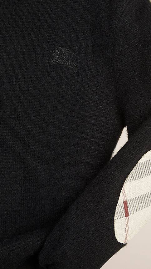Black Check Elbow Patch Cashmere Sweater - Image 3