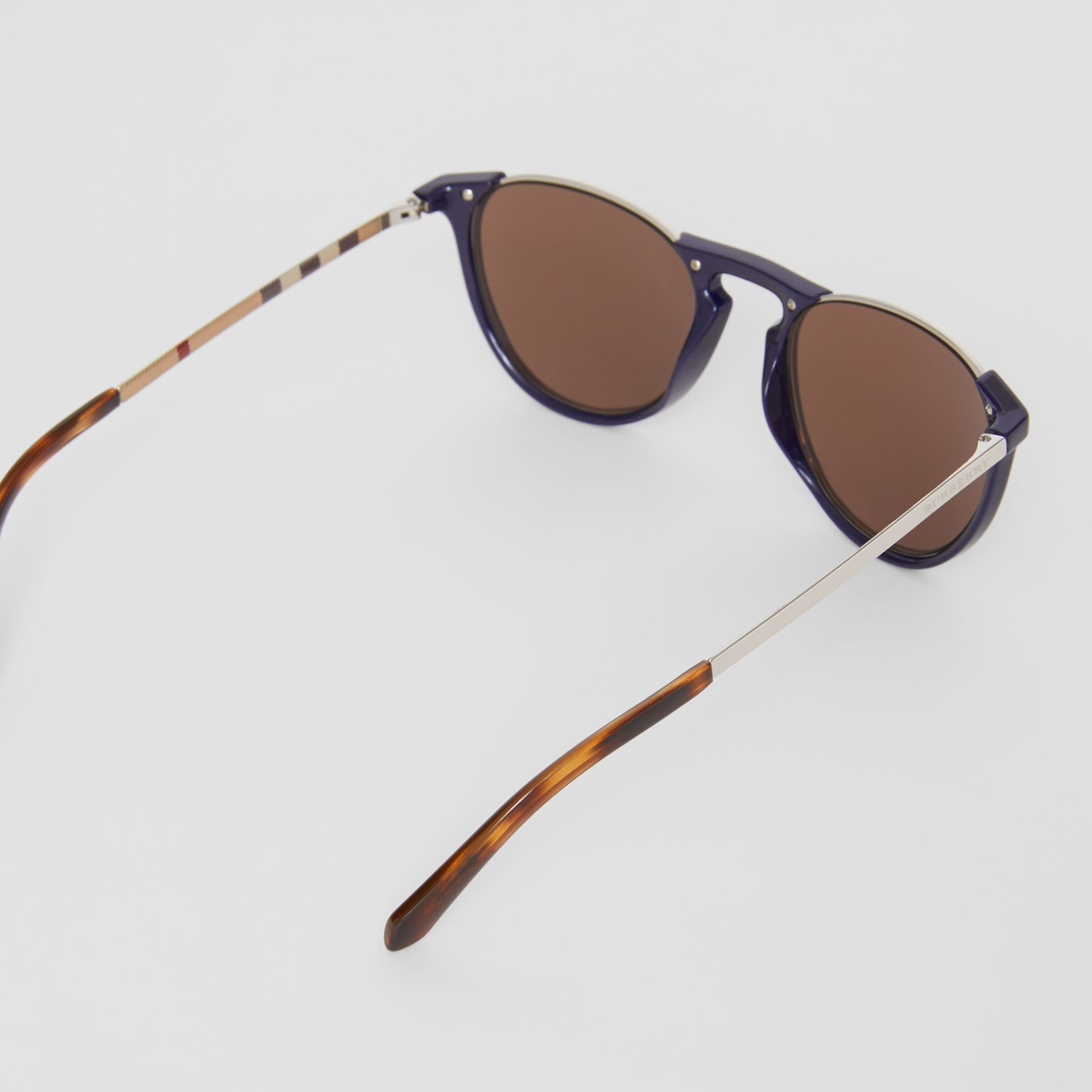 Keyhole Pilot Round Frame Sunglasses in Blue - Men | Burberry United States - gallery image 3