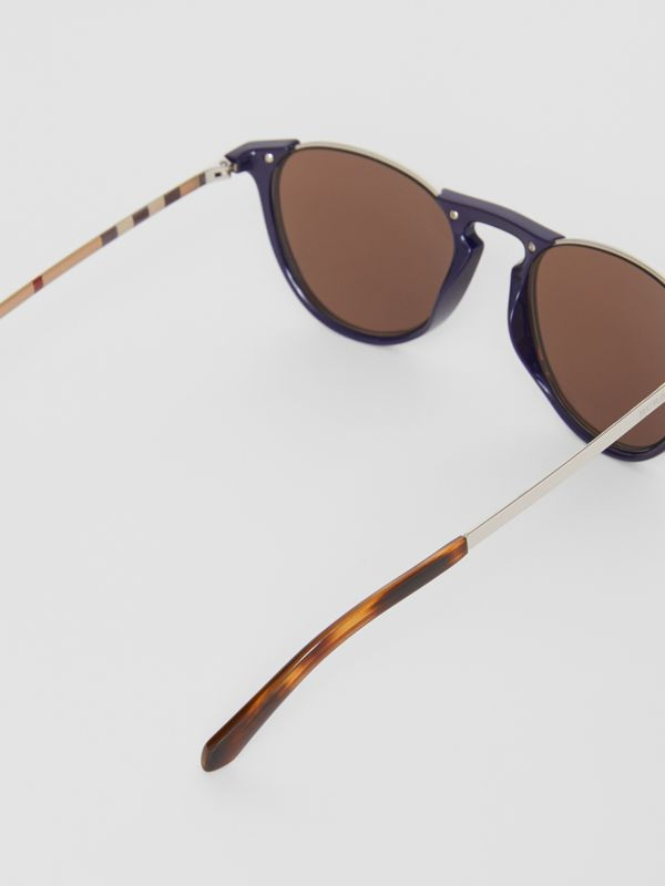 Keyhole Pilot Round Frame Sunglasses in Blue - Men | Burberry - cell image 3