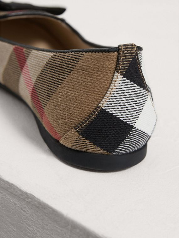 Bow Detail House Check Ballerinas in Classic - Girl | Burberry - cell image 2