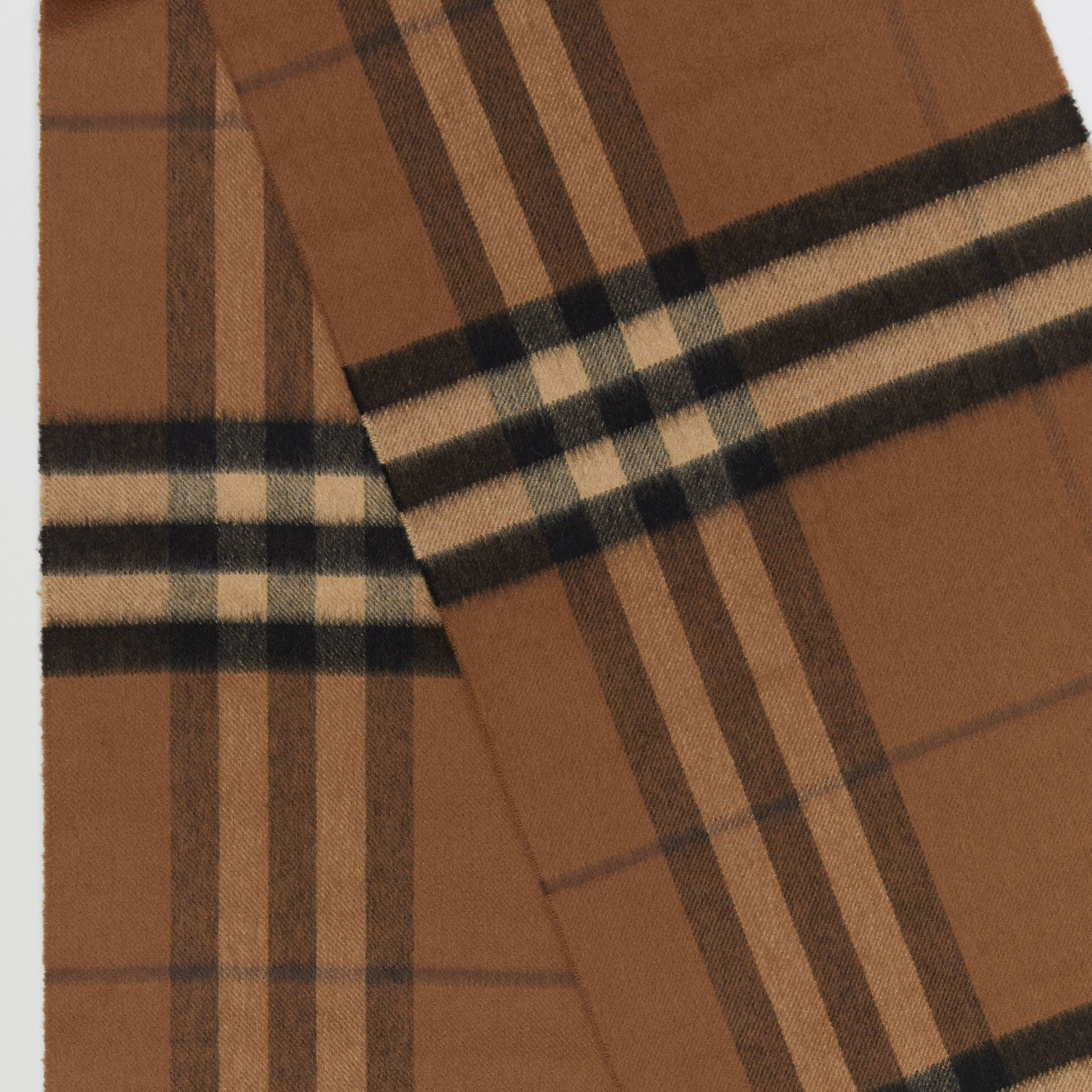 The Classic Check Cashmere Scarf in Bridle Brown | Burberry Canada - gallery image 1