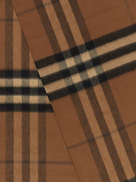 The Classic Check Cashmere Scarf in Bridle Brown | Burberry Canada - cell image 1